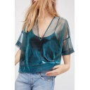 Summer's New Collection Plain Sexy Sheer Mesh V Neck Short Sleeve Top