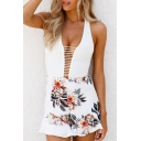 Sexy Halter Neck Sleeveless Holiday Beach Floral Printed Hollow Rompers