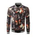 New Fashion 3D Butterfly Pattern Stand Up Collar Long Sleeve Buttons Down Baseball Jacket