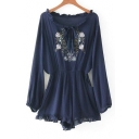 Casual Tied Round Neck Long Sleeve Embroidery Floral Pattern Rompers