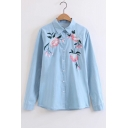 Fashion Embroidery Floral Pattern Lapel Single Breasted Denim Shirt
