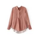 Loose High Low Hem Button Detail Long Sleeve Striped Plain Blouse