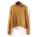 New Arrival Basic Simple Plain Mock Neck Long Sleeve Comfort Sweater