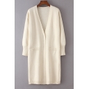 Chic Simple V-Neck Long Sleeve Plain Tunic Cardigan with Two Pockets