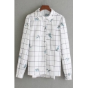 Fashion Blue Floral Embroidered Plaids Pattern Long Sleeve Buttons Down Shirt