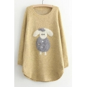 Cartoon Lovely Little Sheep Patched Round Neck Long Sleeve Tunic Sweater