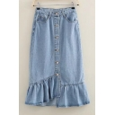 New Arrival Plain Fashion Buttons Down Ruffle Hem Midi Denim Asymmetrical Skirt