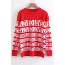 Color Block Letter Pattern Long Sleeve Round Neck Pullover Sweater