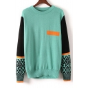 Color Block Long Sleeve Round Neck Pullover Sweater