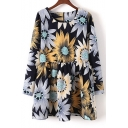 Women's Floral Printed Long Sleeve Round Neck Mini Smock Dress