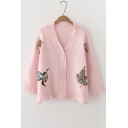V-Neck Embroidery Bird Pattern Single Breasted Cardigan