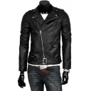 Cool Oblique Zip Fly Notched Lapel Plain Biker PU Jacket
