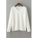 Casual Loose Basic Plain V Neck Long Sleeve Pullover Sweater