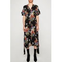 Fashion Floral Printed V-Neck Button Down Split Sides Midi Dress