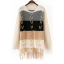 Women's Color Block Long Sleeve Round Neck Tassel Pullover Sweater