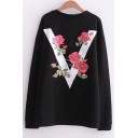 V Floral Graphic Printed Back Round Neck Long Sleeve Pullover Sweatshirt