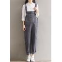 Women's Straps Sleeveless Plain Overalls with Multi Pockets