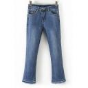Basic Simple Plain Fashion Fringe Hem Flared Jeans