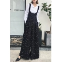 Fashion Polka Dot Pattern Crossed Back Loose Wide Legs Overall Pants