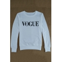 Fashion Letter VOGUE Pattern Round Neck Long Sleeve Pullover Sweatshirt