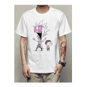 Funny Cartoon Pattern Summer's Short Sleeve Round Neck Unisex T-Shirt