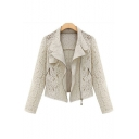 Chic Lace Inserted Stand-up Collar Long Sleeve Plain Zip Up Jacket