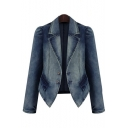 Fashion Oversize Ombre Long Sleeve Notched Lapel Collar Denim Jacket