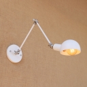 Industrial Swing Arm Wall Sconce with Bowl Shade in White