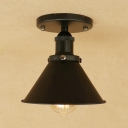 Industrial Semi Flush Mount with Coolie Shade, Satin Black/Brass