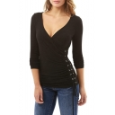 Sexy Wrap Plunge Neck Lace-Up Side Long Sleeve Plain Fitted T-Shirt