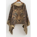New Arrival Tiger Pattern Tassel Long Sleeve Round Neck Pullover Sweater