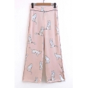 Woman's Casual Cute Cat Print Wide Leg Pants