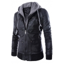 Hot Fashion Fake Two-Piece Hooded Long Sleeve Plain Zip Up PU Coat