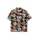 New Trendy Summer's Coconut Palm Pattern Short Sleeve Casual Buttons Down Shirt