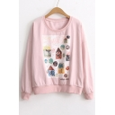 Cartoon Building Pattern Round Neck Long Sleeve Pullover Sweatshirt