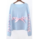 New Fashion Ribbons Tie Embellished Round Neck Long Sleeve Pullover Sweater