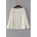 Basic Simple Plain Boat Neck Long Sleeve Loose Casual Pullover Blouse