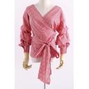 Fashion Wrap Plunge Neck Long Sleeve Plaids Pattern Pullover Blouse