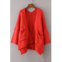 Basic Simple Plain Long Sleeve Casual Leisure Cardigan with Double Pockets
