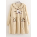 Cute Cartoon Pattern Collared Long Sleeve Mini Casual Loose Smock Dress