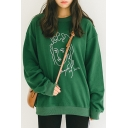 Contrast Portray Printed Long Sleeve Round Neck Pullover Sweatshirt