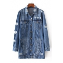 New Stylish Ripped Lapel Collar Long Sleeve Plain Single Breasted Denim Coat