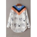 Round Neck Long Sleeve Cute Cat Pattern High Low Hem Pullover Blouse