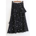 Fashion Pentacle Printed Ruffle Embellished Zip Side Maxi Skirt