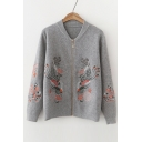 Fashion Floral Embroidered Stand-Up Collar Long Sleeve Zip Up Cardigan