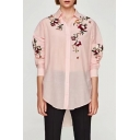 New Arrival Fashion Floral Embroidered Lapel Collar Long Sleeve Buttons Down Shirt