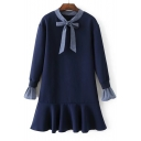 Round Neck Bow Tie Front Long Sleeve Fashion Ruffle Hem Mini Swing Dress