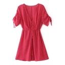 Plunge V-Neck Short Sleeve Single Breasted Belt Waist Polka Dots Mini Dress