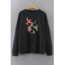 Fashion Floral Birds Embroidered Long Sleeve Round Neck Sweatshirt