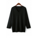 Basic Plain V Neck Long Sleeve High Low Hem Leisure Sweater